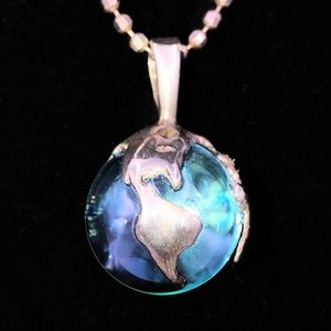Vintage Pools of Light Earth Globe Marble Necklace